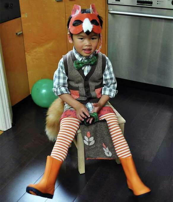 """FINALIST! Cat made this Mr. Fox costume for her son, because """"he is always bright-eyed and bushy tailed and thought this would suit him."""""""
