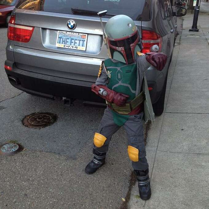 """FINALIST! Mama Fett write in: """"When my 8-year old son said he wanted to dress up as everyone's favorite Mandalorian for Halloween this year, I geeked out a little. Okay, a lot. I give you Boba Fett – I purchased the helmet and the boots, but everything else is either modified or made from scratch (oddly, not my first time making wrist-mounted rocket launchers — that's just how it is in our family)."""""""