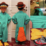 "FINALIST! WirelessAndy worked hard to deliver his son an excellent Perry the Platapus costume. Andy writes: ""Many mistakes were made. For one, the neck opening is way too large, so I found a teal collared shirt to wear underneath. And, as you can see, I can't sew straight worth a darn (see inset), but I had fun and my son likes it!"""