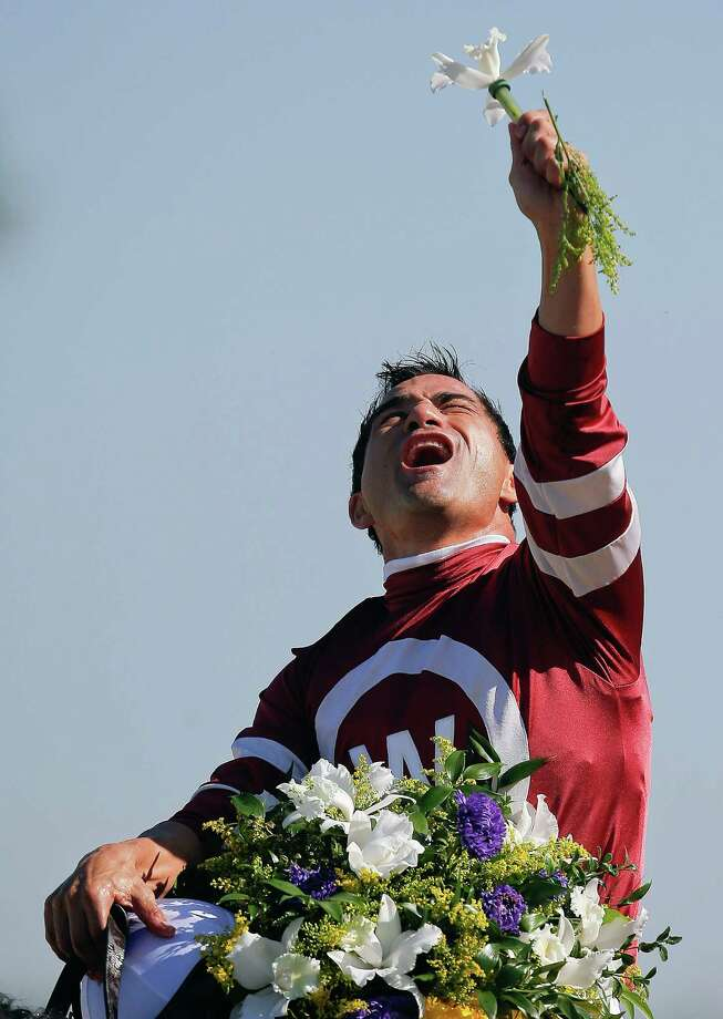 Jockey Corey Nakatani reacts after ridding Tapizar to win the Breeders' Cup Dirt Mile horse race, Saturday, Nov. 3, 2012, at Santa Anita Park in Arcadia, Calif. Photo: Jae C. Hong, AP / AP