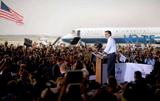 Republican presidential candidate, former Massachusetts Gov. Mitt Romney speaks during a campaign event at the Orlando Sanford International Airport, Monday, Nov. 5, 2012, in Sanford, Fla. Photo: AP