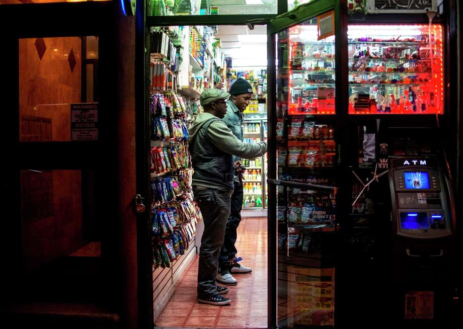 "Trying to fight sleepiness at 4:15 am while on set of ""Hypebeasts"", 49ers linebacker Aldon Smith and his friend Dap Ashaolu  buy energy drinks at a New York City bodega close to the set on October 21. (Matt Roth / Special to the Chronicle) Photo: Matt Roth, SFC / ONLINE_YES"