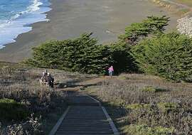 On November 3, 2012 in Pacifica, the bootlegger steps trail leads visitors up to Mori Point's bluff.