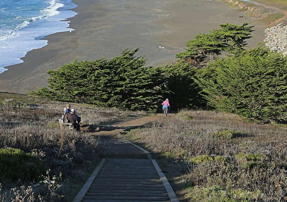Bootlegger's Steps, named after Mori Point's reputation during Prohibition, has a large flat area at the top, where people can rest and take in views of the ocean, the beach and the hills. Photo: Rashad Sisemore, The Chronicle