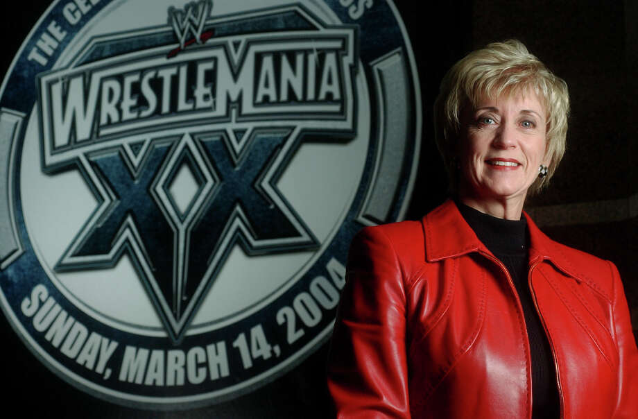 Linda McMahon, CEO of World Wrestling Entertainment, in the lobby of the company's Stamford, Conn. headquarters in Dec. 2003. Photo: Stamford Advocate File Photo / Stamford Advocate file