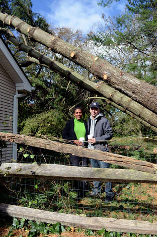 Carla Gatto and her husband Steve Gatto stand next to pine trees that fell on their home on Westminster Rd. in Stamford on Saturday, Nov. 3, 2012. Five pine trees from a neighboring property fell on Gatto's home during Hurricane Sandy. Photo: Amy Mortensen / Connecticut Post Freelance