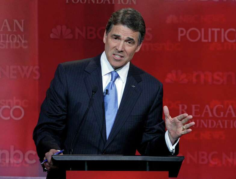 Rick Perry speaks during a Republican presidential candidate debate at the Reagan Library Wednesday,