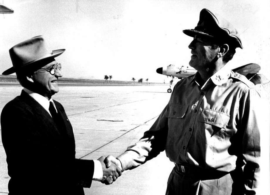 """Ed Flanders as Harry S. Truman in """"MacArthur"""" (with Gregory Peck)"""