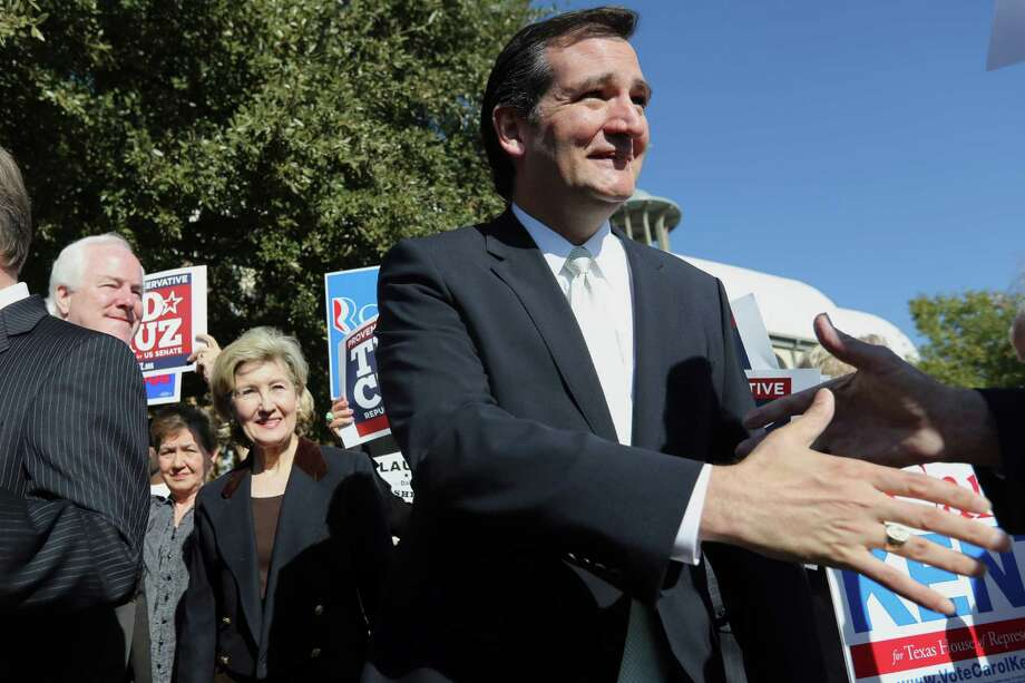 Republican candidate for U.S. Senate Ted Cruz, right, shakes hands with supporters as  U.S. Senators Kay Bailey Hutchison, left, and John Cornyn look on outside a polling station in Dallas, Thursday, Nov. 1, 2012. Cruz faces Democratic candidate Paul Sadler for the U.S. Senate seat vacated by fellow Republican Hutchison. (AP Photo/LM Otero) Photo: LM Otero, Associated Press / AP