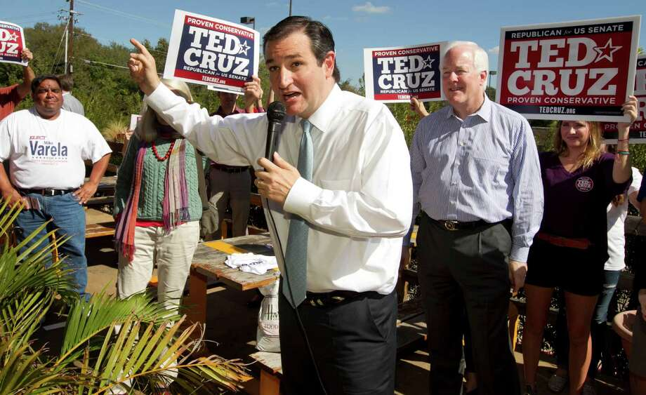 Ted Cruz, candidate for U.S. Senate, speaks at a rally with U.S. Sen. John Cornyn, right, at Maudie's Hacienda on Brodie Lane in Austin, Texas, on Wednesday Oct. 31, 2012. (AP Photo/Austin American-Statesman, Jay Janner) Photo: Jay Janner, Associated Press / Austin American-Statesman