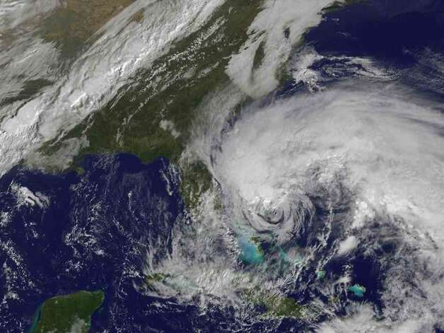 HURRICANE SANDY: This visible image from Oct. 26, 2012, shows Sandy's huge 
