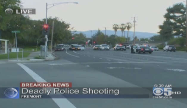 Police officers shot and killed a domestic violence suspect in Fremont late Sunday night while he allegedly pursued his estranged wife with a knife Photo: CBS San Francisco