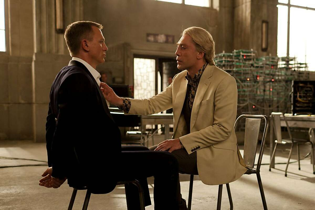 """This film image released by Sony Pictures shows Daniel Craig, left, and Javier Bardem in a scene from the film """"Skyfall."""" Bardem portrays, Raoul Silva, one of the finest arch-enemies in the 50-year history of Bond films. (AP Photo/Sony Pictures, Francois Duhamel)"""