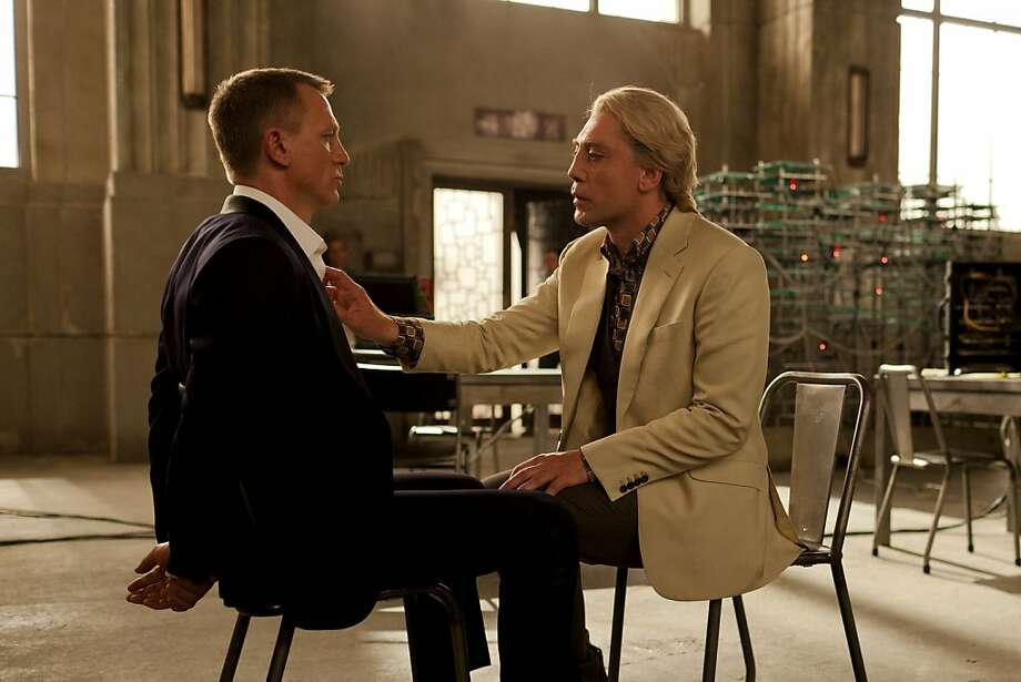 "Daniel Craig (left) has an unwanted sit-down with bad guy Javier Bardem in ""Skyfall,"" the new James Bond film opening Friday. Photo: Francois Duhamel, Associated Press"
