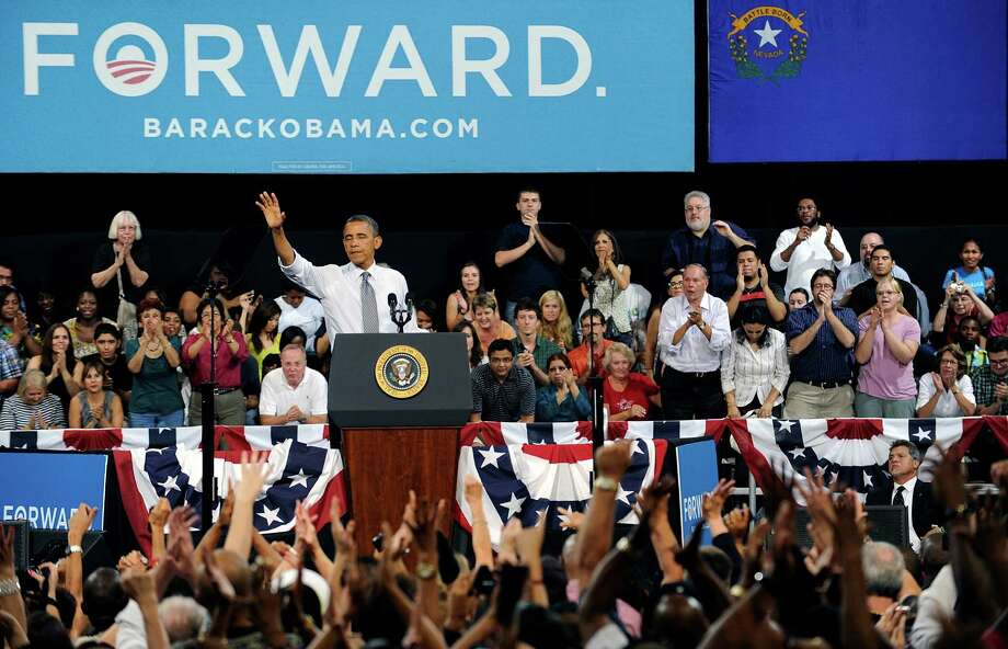 President Barack Obama speaks at a campaign event on Wednesday, Sept. 12, 2012 in Las Vegas. (AP Photo/David Becker) Photo: DAVID BECKER, Associated Press / FR170737 AP