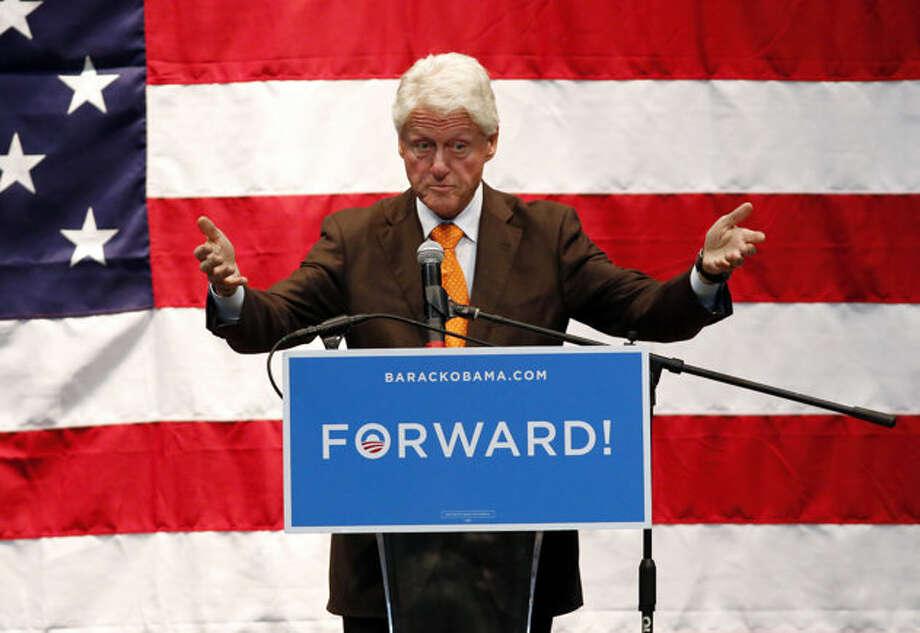 Former President Bill Clinton speaks at a campaign event for Barack Obama at the Coliseum in St. Petersburg, Fla. Friday, Nov. 2. 2012.  (Scott Iskowitz / AP Photo)