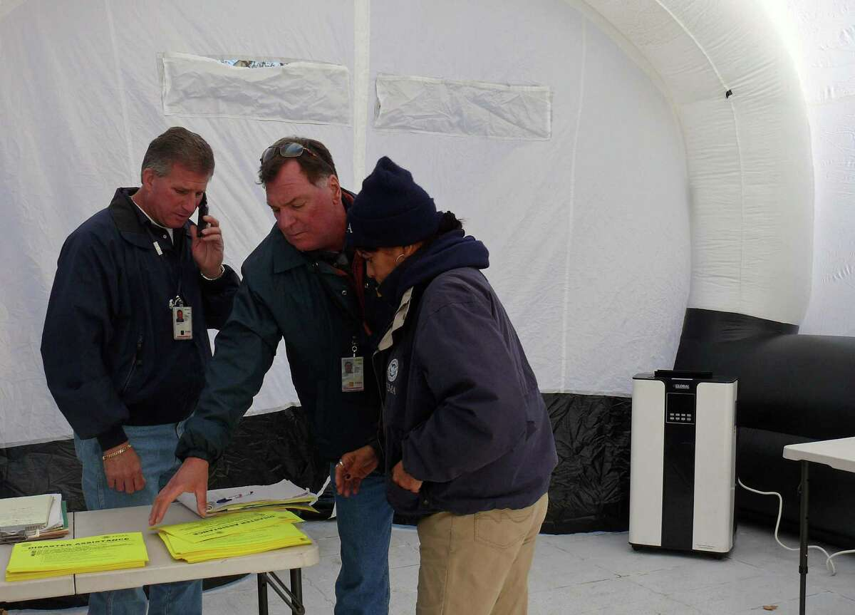 FEMA representatives set up shop at Veterans Park on Reef Road on Monday, and will be available all day Tuesday.