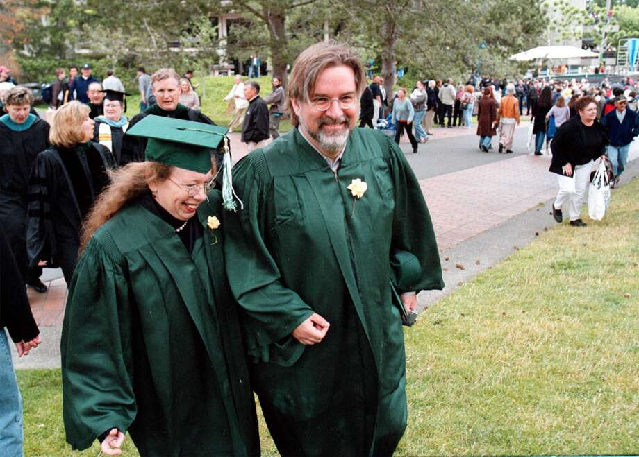 "The Evergreen State College also drew 2 percent of 2010 Seattle graduates who attended college, compared with 0 to 1 percent statewide. Graduates include cartoonist Matt Groening, creator of the ""The Simpsons,"" shown here with cartoonist and writer Lynda Barry at the 2000 graduation, where he gave the keynote speech. Groening graduated in 1977. Photo: LAUREN MCFALLS, Associated Press / AP"