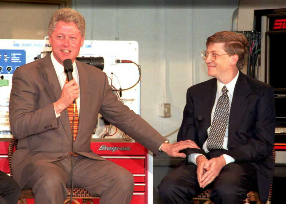 More Seattle students went to a Washington public two-year college (44 percent of college-attending graduates) than a four-year school in the state (32 percent). Shoreline Community College nabbed 5 percent of college attendees from Seattle (0-1 percent statewide). We couldn't resist using this picture of then President Bill Clinton and Microsoft President and CEO Bill Gates participating in a roundtable discussion on job retraining at the school on Feb. 24, 1996. Photo: LUKE FRAZZA, AFP/Getty Images / AFP