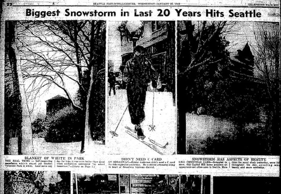 This is part of the Jan. 20, 1943 P-I, which told of the worst snowstorm to hit Seattle in two decades. Many of these pictures have been preserved by a donation to the Museum of History and Industry. Photo: Seattlepi.com File