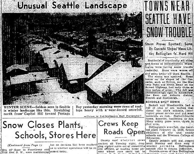 Here is more of the coverage of the 1943 Seattle snowstorm. This was part of the Jan. 21, 1943 P-I.