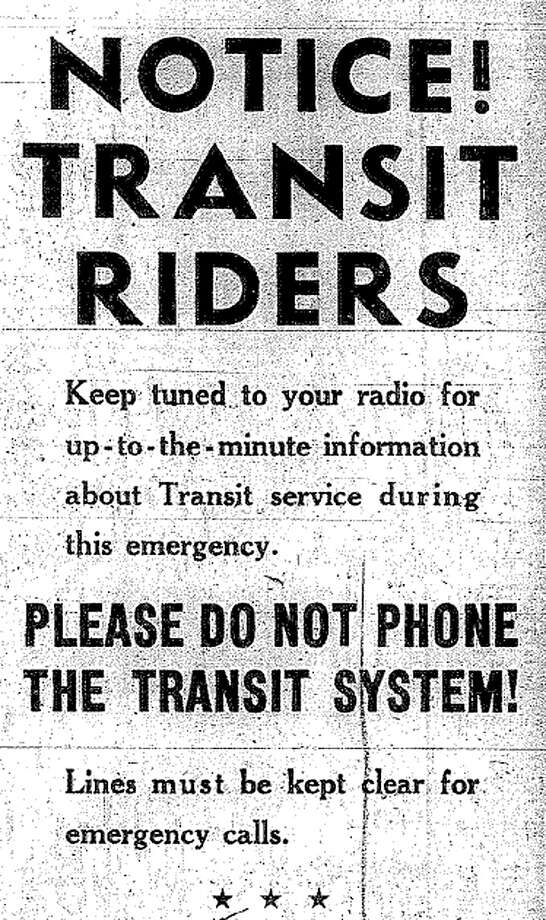 This was the advertisment in the Jan. 20, 1943 P-I telling transit riders to listen to the radio instead of calling the company. Before the internet, Seattleites relied on radio service and several editions of the morning and afternoon newspapers to get information. Photo: Seattlepi.com File