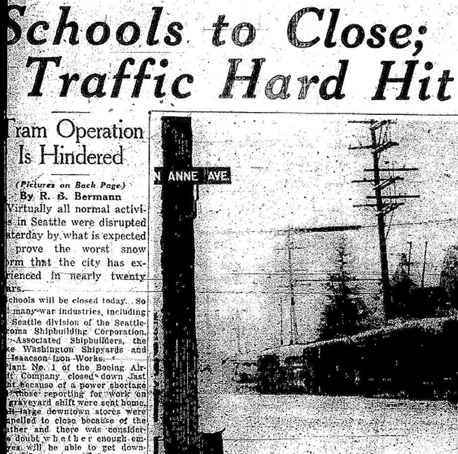 All Seattle schools were closed on Jan. 20, 1943 after the city's worst stsorm in two decades. Several P-I photos of kids playing in the snow have been preserved at the Museum of History and Industry. Photo: Seattlepi.com File