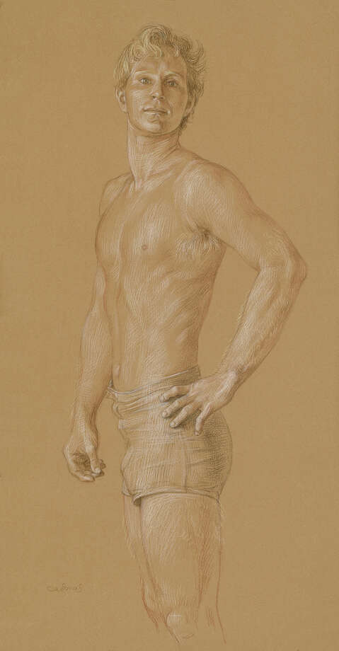 """""""Jon #1"""" is one of many drawings made by the late Paul Cadmus of his longtime lover and friend, Jon Anderson of Weston, during their 35-year relationship. It is one of about 50 pieces on view in """"Muse,"""" an exhibition at the Westport Arts Center. Photo: Contributed Photo"""