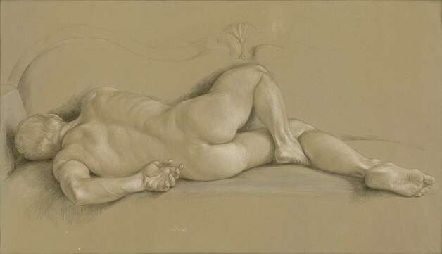 """Jon Reclining"" is one of many drawings made by the late Paul Cadmus of his longtime lover and friend, Jon Anderson of Weston, during their 35-year relationship. It is one of about 50 pieces on view in ""Muse,"" an exhibition at the Westport Arts Center. Photo: Contributed Photo"