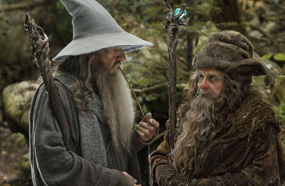 "(L-r) IAN McKELLEN as Gandalf and SYLVESTER MCCOY as Radagast in New Line Cinema's and MGM's fantasy adventure ""THE HOBBIT: AN UNEXPECTED JOURNEY,"" a Warner Bros. Pictures release."