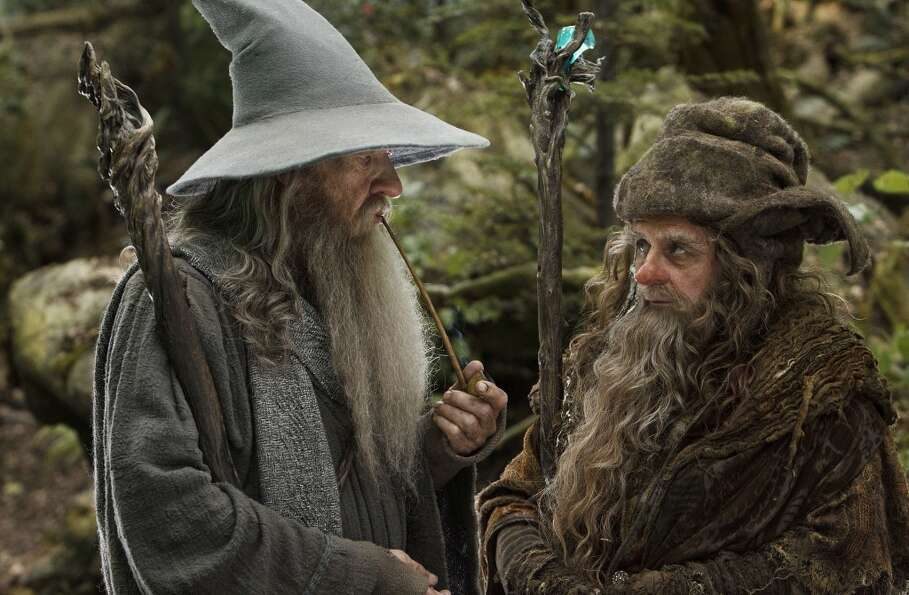 (L-r) IAN McKELLEN as Gandalf and SYLVESTER MCCOY as Radagast in New Line Cinema's and MGM's fa
