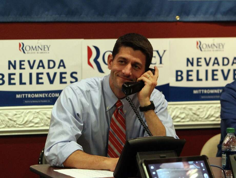 Republican vice presidential candidate, Rep. Paul Ryan of Wisconsin mans the phones at the Team Nevada headquarters in Las Vegas, Thursday, Nov. 1, 2012. Photo: Jerry Henkel, AP / LVRJ2012