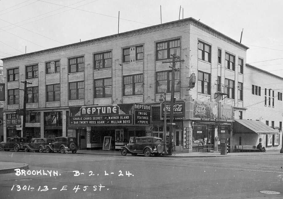 "Seattle's Landmarks and Preservation Board will decide on the Neptune's nomination on Nov. 14. While much of the inside is no longer original, the theater has had a long history in Seattle, including in 1936, when it played ""Charlie Chan's Secret"" and Popeye cartoons. (Puget Sound Regional Archives) Photo: /"