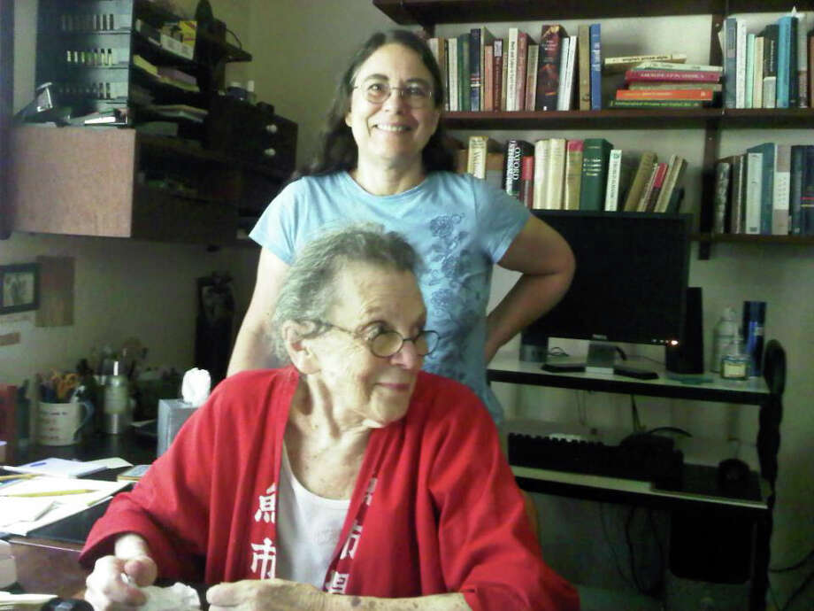 Beatrice Hofstadter White, here in her study this summer with her daughter, Sarah, died Oct. 30 at her home in Bridgewater. Photo Credit: Nick Rostow Photo: Contributed Photo