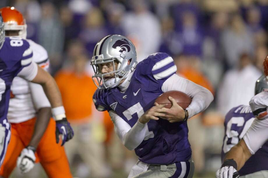 Kansas State quarterback Collin Klein (7) during the first half of an NCAA college football game against Oklahoma State in Manhattan, Kan., Saturday, Nov. 3, 2012. (AP Photo/Orlin Wagner) (Associated Press)