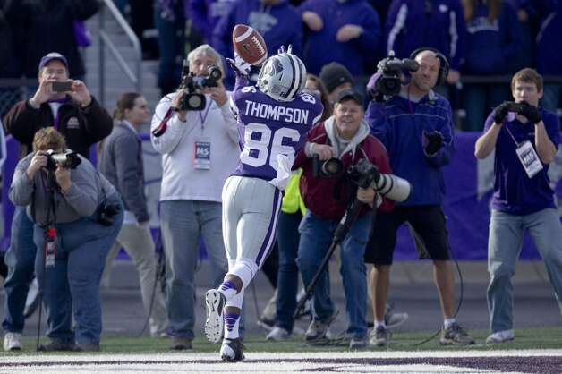 Kansas State wide receiver Tramaine Thompson (86) during the first half of an NCAA college football game against Texas Tech in Manhattan, Kan., Saturday, Oct. 27, 2012. (AP Photo/Orlin Wagner) (Associated Press)