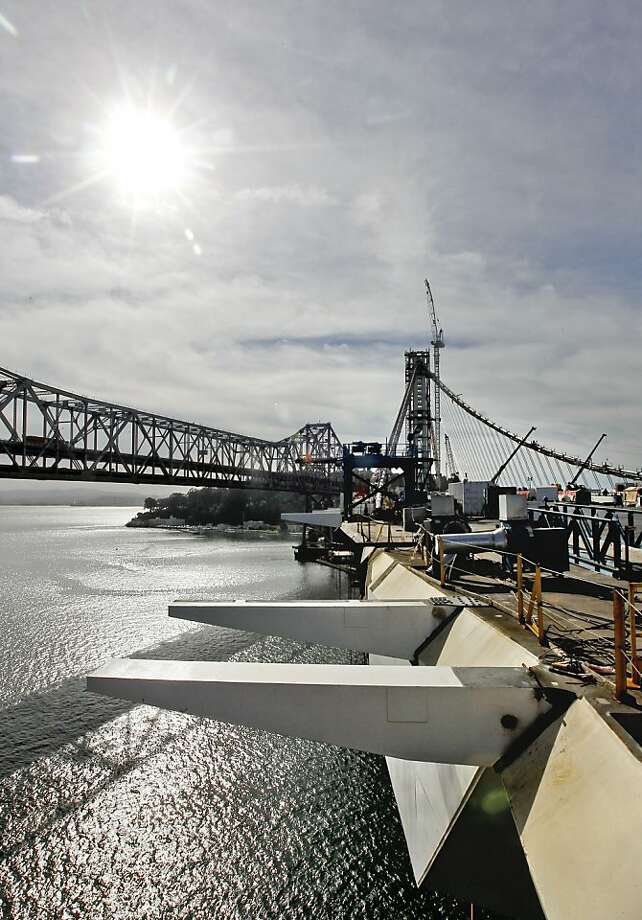 A section of the bike path that runs along the Southern edge of Eastern section of the new Bay Bridge waits to be completed, in Oakland, Calif., on Friday Nov. 2, 2012. Photo: Michael Macor, The Chronicle