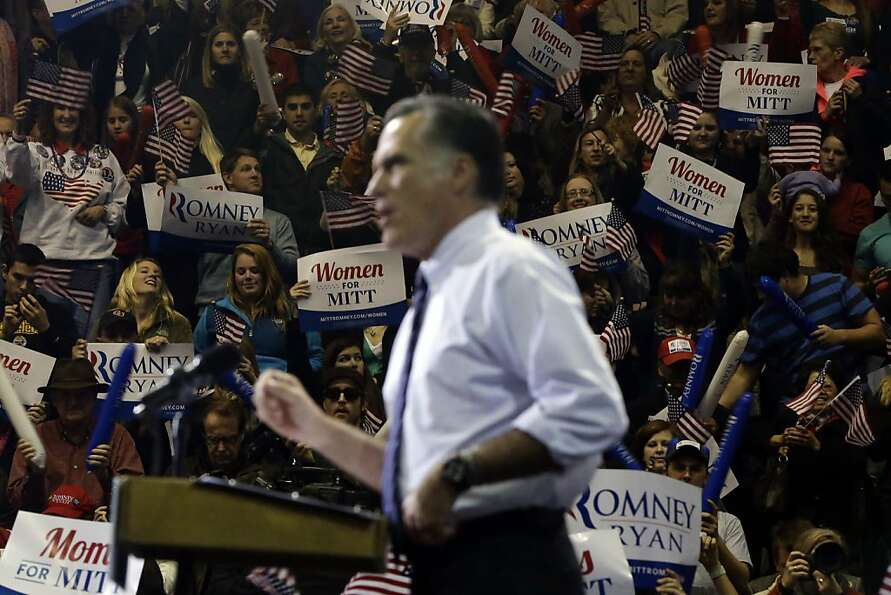 The crowd watches Republican nominee Mitt Romney at George Mason University, in Fairfax, Va.