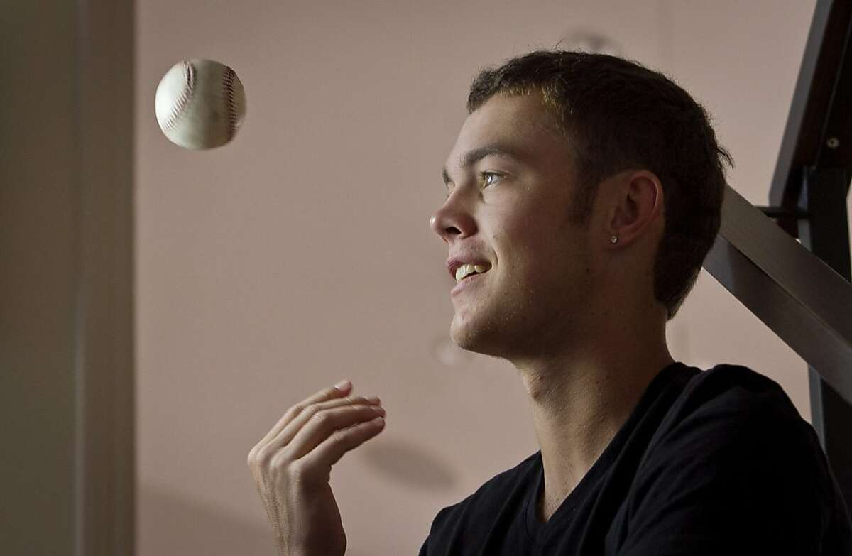 Gunnar Sandberg, the Marin Catholic pitcher who was hit in the head by a line drive two years ago at his home in San Rafael, Calif., on Friday, November 2nd, 2012.