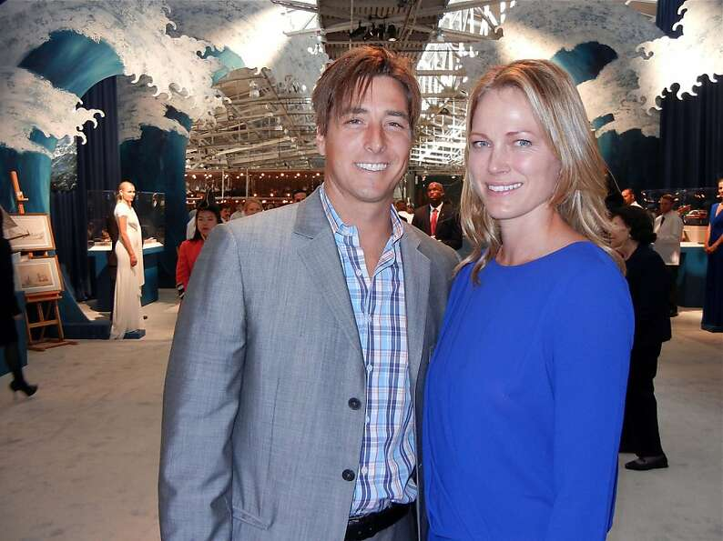 The San Francisco Fall Antiques Show honorary co-chairs, Malia Moseley, and her husband, Olympic ski