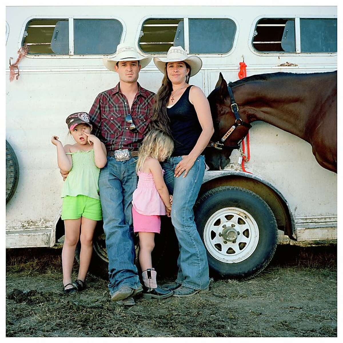 OV-RURAL 2.jpg Keith and Ileah Roquemore, with daughters Raci and Riata and horse D.H., at the 2011 Mendocino County Fair Rodeo in Boonville. Photo by Lisa M. Hamilton