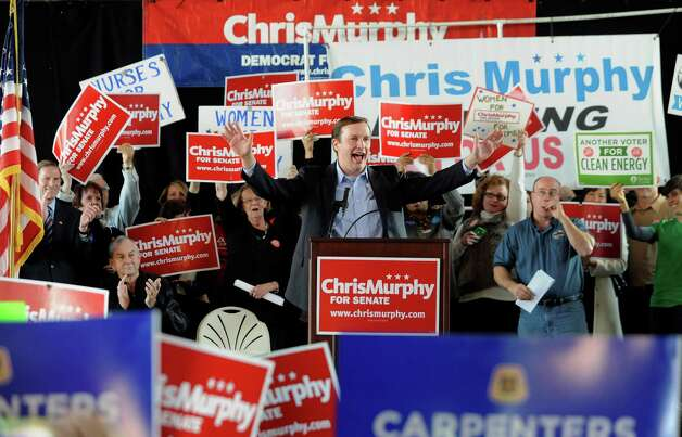 Democratic candidate for U.S. Senate Chris Murphy speaks at a rally in Hartford, Conn., Monday, Nov. 5, 2012.  Murphy and Republican opponent LInda McMahon are vying for the Senate seat now held by Joe Lieberman, an independent who's retiring. Photo: Jessica Hill, AP Photo/Jessica Hill / Associated Press