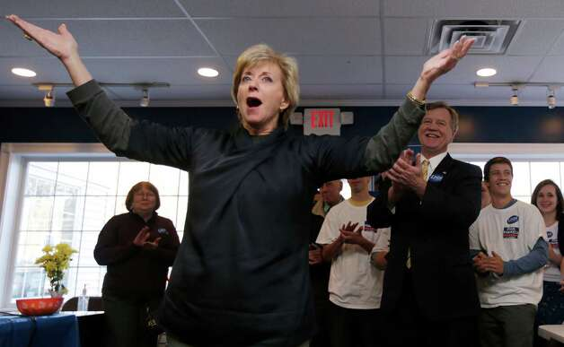Republican candidate for U.S. Senate Linda McMahon rallies her volunteers while visiting a campaign office in East Lyme, Conn., Monday, Nov. 5, 2012. McMahon and Democratic opponent Chris Murphy are vying for the Senate seat now held by Joe Lieberman, an independent who's retiring. Photo: Charles Krupa, AP Photo/Charles Krupa / Associated Press