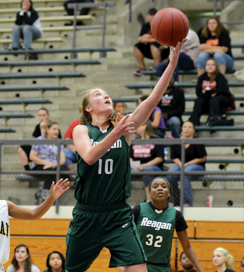 Reagan's Wendy Knight (10) puts up and uncontested lay-up during a girls non-district basketball game between the Brennan Bears and the Reagan Rattlers at Paul Taylor Field House in San Antonio, Saturday, November 5, 2012.