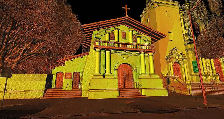 A 3-D laser scan of Mission Dolores can provide exact measurements throughout the 221-year-old building. Photo: -, CyArk