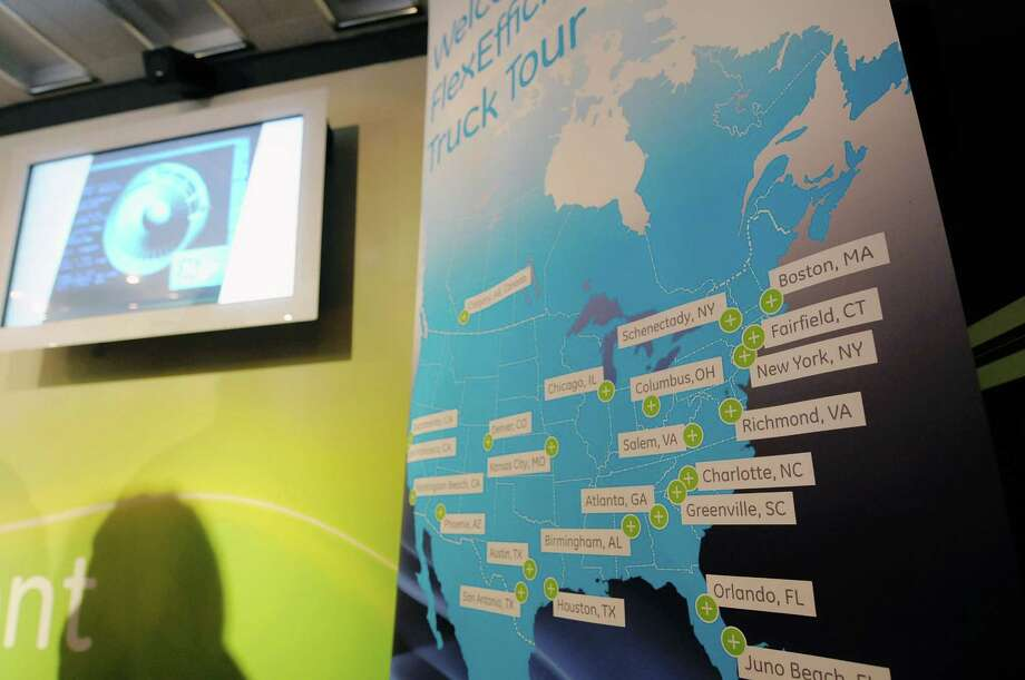 A map showing the locations that the GE tour will stop at is seen inside the mobile FlexEfficiency 60 exhibit at General Electric on Monday, Nov. 5, 2012 in Schenectady, NY.  The traveling exhibit showcases the company's newest technology in  power generation using natural gas and enabling greater use of renewable energy.  (Paul Buckowski / Times Union) Photo: Paul Buckowski  / 00019967A
