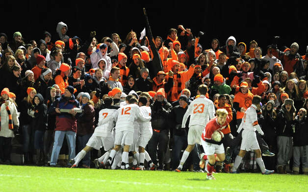 The Bethlehem team celebrates after scoring against Niskayuna in the Class AA boy's soccer sectional final on Monday Nov. 5, 2012 in Colonie, N.Y.  (Lori Van Buren / Times Union) Photo: Lori Van Buren