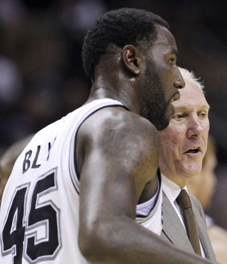 San Antonio Spurs' DeJuan Blair talks with head coach Gregg Popovich during second half action against the Indiana Pacers Monday Nov. 5, 2012 at the AT&T Center. The Spurs won 101-79. (Edward A. Ornelas / San Antonio Express-News)