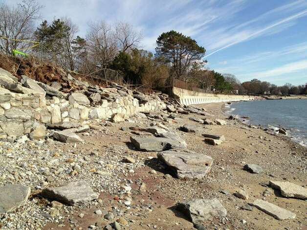 Superstorm Sandy left behind major damage to the seawall at Burying Hill Beach. Photo: Contributed Photo / Westport News