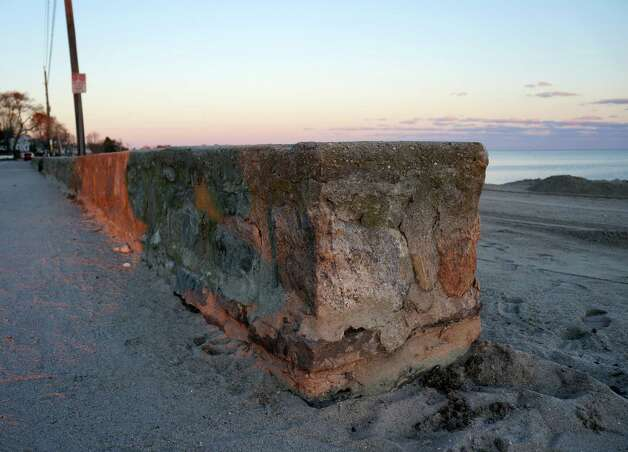The seawall at Compo Beach survived Superstorm Sandy without major damage. Photo: Paul Schott / Westport News